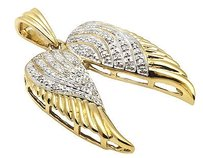 Yellow Gold Finish Open Angel Wings 1.25 Inch Genuine Diamond Pendant 0.25ct