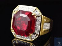 Other Yellow Gold Finish Royal Asscher Cut Ruby Real Diamonds Statement Ring 0.50ct.