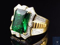 Yellow Gold Finish Royal Emerald Cut Created Emerald Real Diamond Ring 0.50ct.