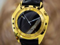 Other Zodiac Swiss Made Mens Natural Onyx Mystery Dial Dress Watch C1960 L162
