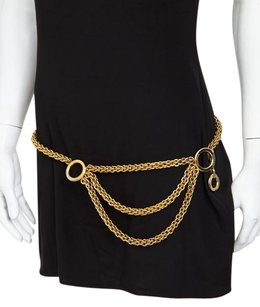 Paloma Picasso Paloma Picasso Vintage Gold Silver Chain Metal Mulit Triple Layer Belt Sml