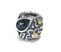 PANDORA DEW DROPS WITH ONYX STERLING SILVER CHARM