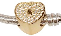 PANDORA New Authentic Pandora 14K Gold Heart Lock Padlock Charm - 750833CZ
