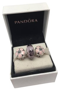 PANDORA Pandora 3 piece clip and Murano charm set in original pouch