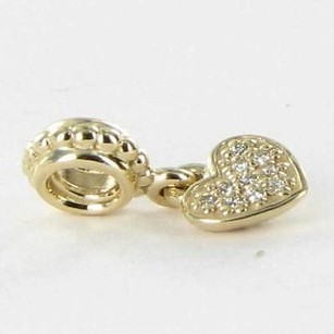 PANDORA Pandora 750809d Beadcharm Dangle Pave Heart 0.06cts Diamond 14k Y Gold