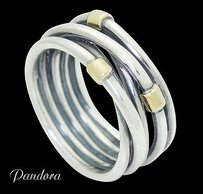 PANDORA Pandora 925 Sterling Silver Crossover Bands 8.15mm Wide Ring R653