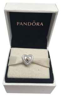PANDORA Pandora Always in my heart 2 tone 14kt charm in original gift pouch