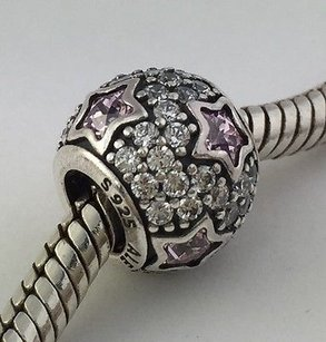 PANDORA Pandora Follow The Stars Midnight Pink Silver Bead Charm 791382pcz