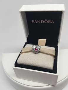 PANDORA Pandora in my heart red ruby charm in original gift pouch