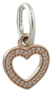 PANDORA Pandora Retired Charm Sterling Silver 14k Gold 791357cz Symbol Of Love Heart