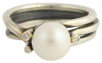 PANDORA Pandora Ring - Woven Splendor 190158d Diamonds Pearl Sterling Silver