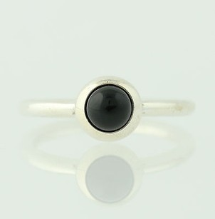 PANDORA Pandora Ring - 190608 Smooth Cabochon Onyx Sterling Silver Retired