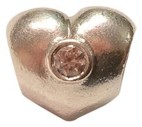 PANDORA Pandora Sterling Silver Heart With Clearstone Charm. Retired!