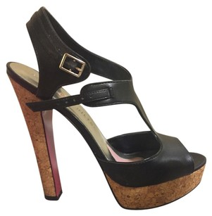Paris Hilton Open Toe Heel Ankle Strap T Strap Black Sandals