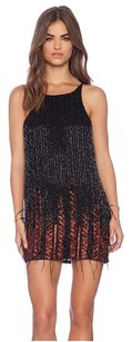 Parker Beaded Feather Red Dress