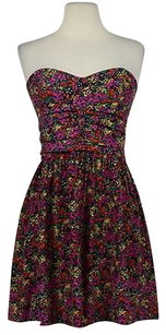 Parker Womens Floral Summer Silk Above Knee Party Dress