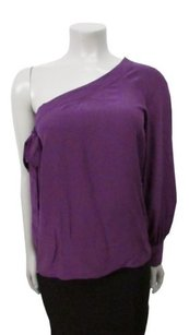 Parker Long Sleeve One Silk Top Purple