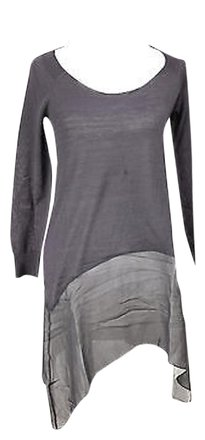 47181185a38524 free shipping Patrizia Pepe Womens Scoop Neck Sweater - Solid Grey Wool