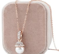 Pearl and crystal rose gold filled 9k Pendant with Chain