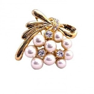 Gold Ivory Pearls Stylish Trendy Cubic Zircon Affordable Brooch/Pin