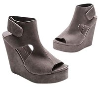Pedro Garcia Suede Terence Platform Wedge Size Gray Sandals