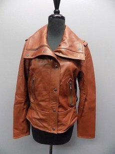 Pelle Studio Full Zipper And Snap Down Lined Leather 2320a Brown Jacket