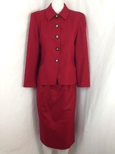 Pendleton Womens Pendleton Petite Red Wool Jacket Skirt Set