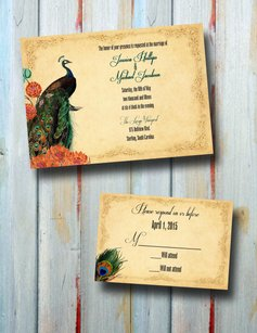 Personalized Peacock Wedding Invitation Set With Rsvp