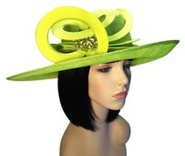 Philip Treacy PHILIP TREACY Lime Sisal Fedora [ HeavenlyHats ]