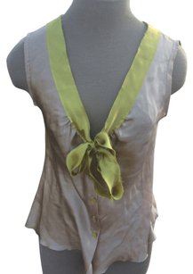 Philosophy di Alberta Ferretti Silk 8 Top Tan/green