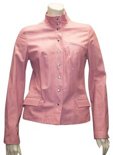 Piazza Sempione Leather Snap Front Coat Hs673 Pink Jacket