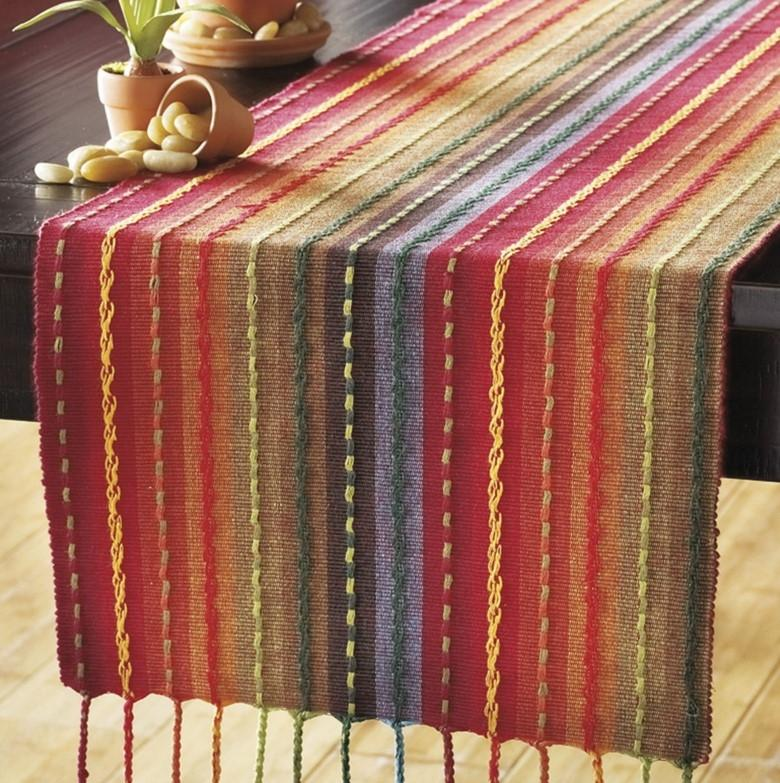 Charmant Pier 1 Imports Multicolor Multi Stripe Table Runner With Fringe End   72 ...