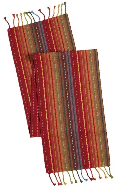 Pier 1 Imports Multicolor Multi Stripe Table Runner With Fringe End ...