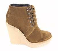 Pierre Hardy Hardy Suede Lace Up Ankle Bootie Wedge Heels Brown Platforms