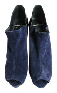 Pierre Hardy Patent Leather Peep Toe Booties Suede Blue Navy and black Pumps