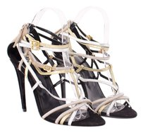 Pierre Hardy Hardy Gold Silver Metallic Black Diamond Strappy Heel Sandals Multi-Color Pumps