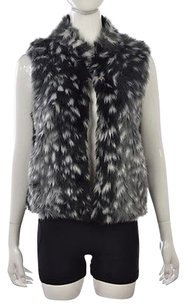 Pins and Needles Womens Black Gray Faux Fur Coat Sleeveless Jacket Vest