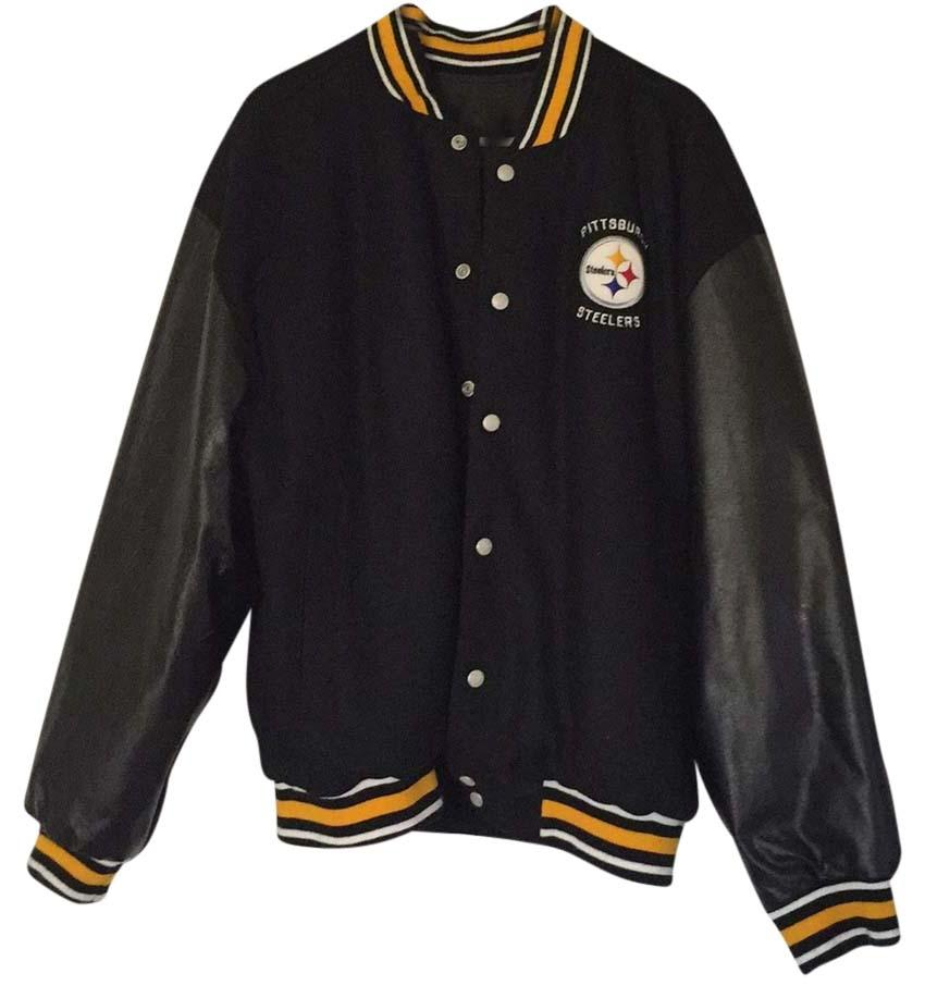Pittsburgh Steelers Reversible Leather/cotton and nylon Winter Coat. 2XL