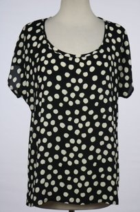 Pleione Womens Polka Top Black