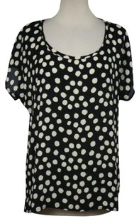 Pleione Womens Polka Dot Short Sleeve Casual Shirt Top Black