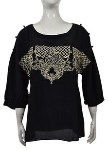 Plenty by Tracy Reese Womens Embroidered Silk Shirt Top Black