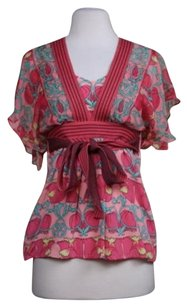 Plenty by Tracy Reese Womens Floral Silk Shirt Tunic