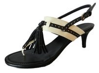 Polo Ralph Lauren Leather Small Heel Slingback Classy Black White Sandals