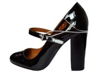 Polo Ralph Lauren Patent Leather High Heel Round Toe Black Pumps