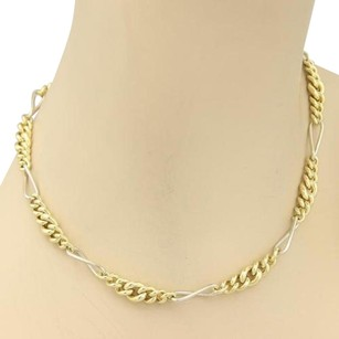 Pomellato Pomellato 18k Two Tone Gold Graduated Curb Figaro Link Chain Necklace