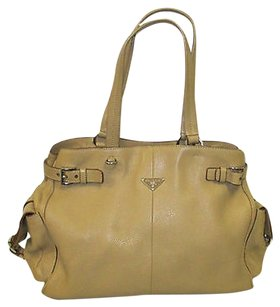 Prada Textured Leather Tote in Beige