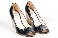 Prada Patent Leather Peep Toe Espadrille Wedge Heel Pumps Black Platforms