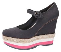Prada Womens Charcoalpink Canvas Wedge Platforms
