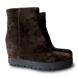 Prada Ankle Suede Wedge Brown Boots