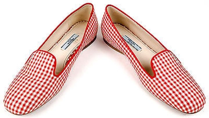 how to spot fake prada sneakers - Prada Red White Plaid Print Fabric Logo Smoking Slippers Flats ...